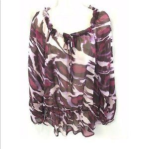 Nine West Jeans Kirsi Purple Sheer Blouse Top NWT